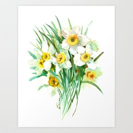 White Daffodils, spring flowers yellow green spring floral design Art Print