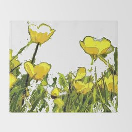 Buttercups bywhacky Throw Blanket
