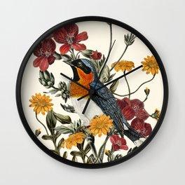 Little Bird and Flowers Wall Clock