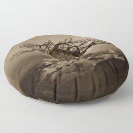 Flower of Life Tree Golden Morning Floor Pillow
