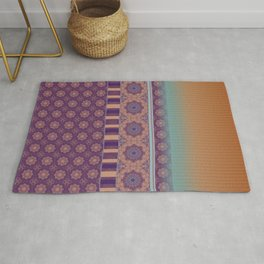 Purple Teal Orange Boho Mandala Tile Ombre Mixed Pattern Rug