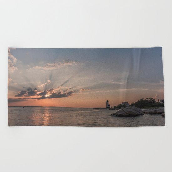 Sunbeams at Annisquam lighthouse Beach Towel