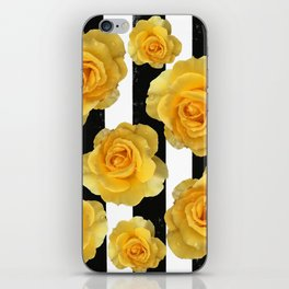 Yellow Roses on Black & White Stripes iPhone Skin