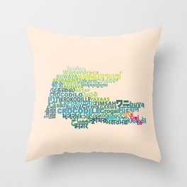 Crocodile in Different Languages Throw Pillow