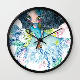 Blue nature with baby fox Wall Clock
