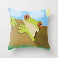 spawn Throw Pillows featuring Frog by Nir P