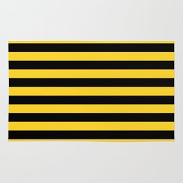 Yellow and Black Honey Bee Horizontal Beach Hut Stripes Rug