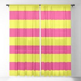 Bright Neon Pink and Yellow Horizontal Cabana Tent Stripes Sheer Curtain