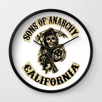 sons of anarchy Wall Clocks featuring Sons of anarchy Motorcycle club by OverClocked