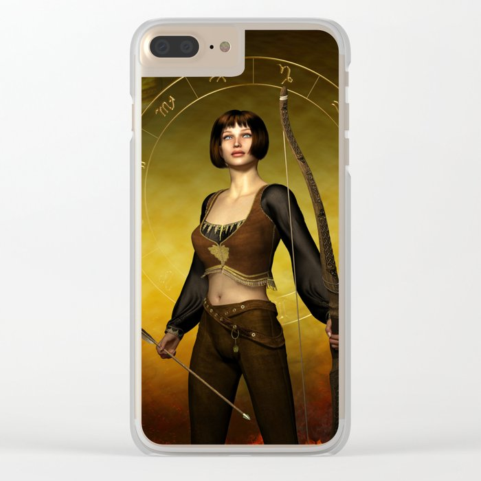 Sagittarius Zodiac Fantasy Clear iPhone Case