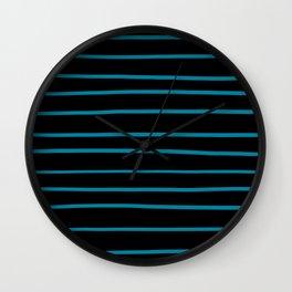 Pantone Barrier Reef 17-4530 Hand Drawn Horizontal Lines on Black Wall Clock