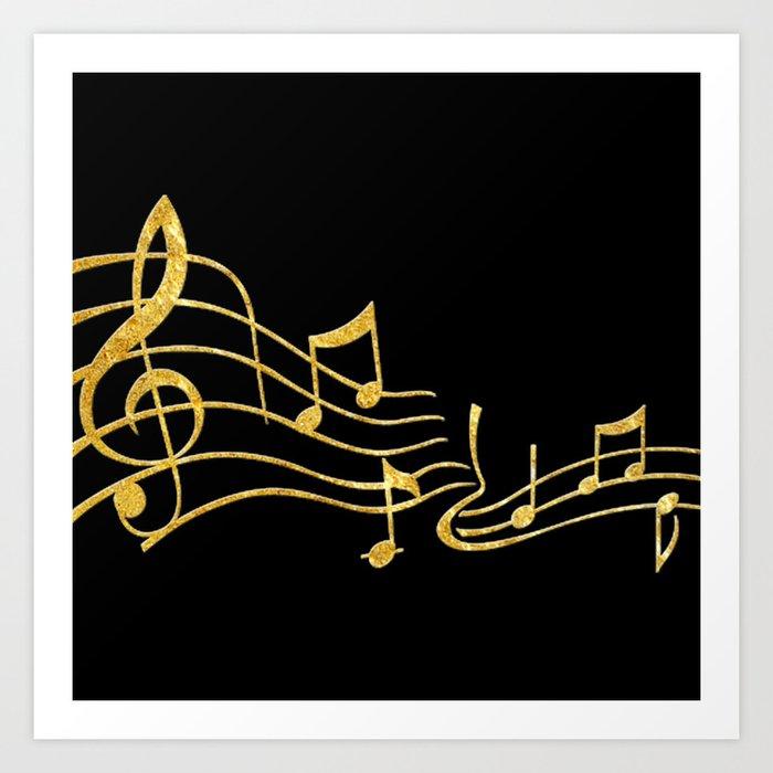 Gold Metallic Music Symbols Art Print by colormegirly