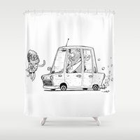 mars Shower Curtains featuring mars by Nioko