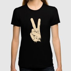 Love Peace and Carrots Black MEDIUM Womens Fitted Tee
