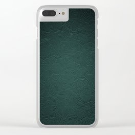 Forest Green Tooled Leather Clear iPhone Case