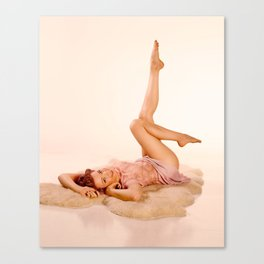 """""""Kicking Back"""" - The Playful Pinup - Sexy Pin-up Girl on Fur Rug by Maxwell H. Johnson Canvas Print"""