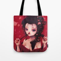 geisha Tote Bags featuring Geisha by Ludovic Jacqz