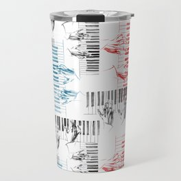 A piano pattern in black/red/blue Travel Mug