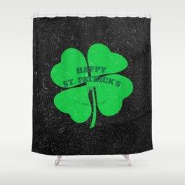 Retro Vintage Happy St Patricks Day Green Shower Curtain