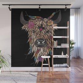 Highland cow - papercut design Wall Mural