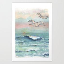 Paper seagulls Art Print