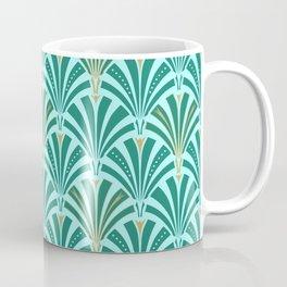 Art Deco Fan Pattern Turquoise on Aqua Coffee Mug