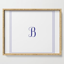 Monogram Letter B in Navy Blue and Three Lines Frame Serving Tray