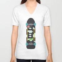 skateboard V-neck T-shirts featuring Skateboard by Ella