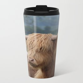 Portrait of Highland Cattle Metal Travel Mug
