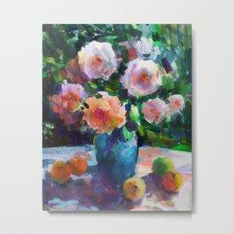 Roses and Fruits Metal Print