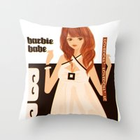 baloon Throw Pillows featuring DOLLY BALOON DRESS  by Chandelina