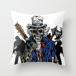 Zombie Uncle Sam  Throw Pillow