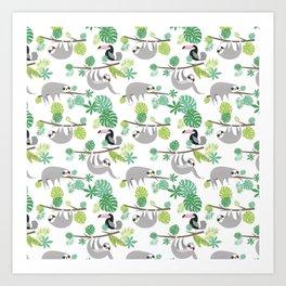 Happy Sloth Jungle Party Art Print