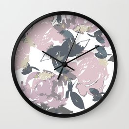 Muted Floral Pattern Wall Clock