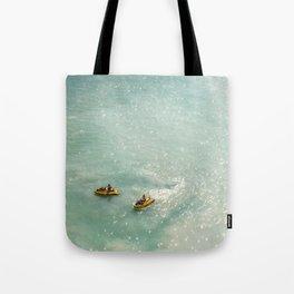 Jet Ski Friends in the Ocean | Paradise | Beach Mood | Aerial Photography | Ocean Print Tote Bag