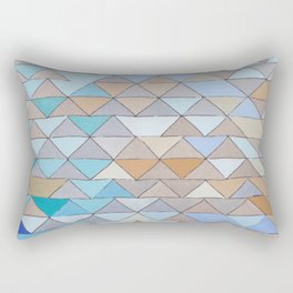 Triangle Pattern no.1 Blues and Browns Rectangular Pillow