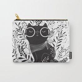 Black cat Floral illustration design Carry-All Pouch