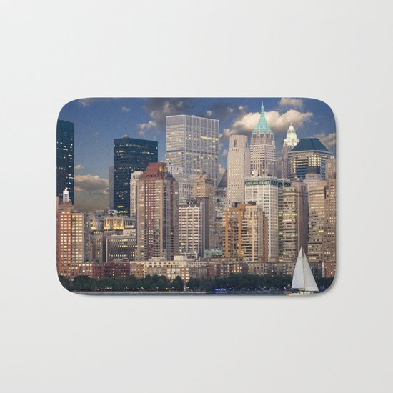 Downtown NYC at twilight Bath Mat