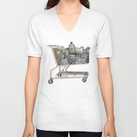 shopping V-neck T-shirts featuring The Shopping by Mitzi Akaha