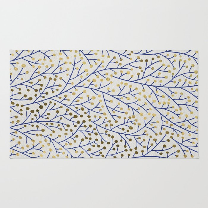 Berry Branches - Navy & Gold Rug