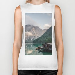 Mountain Lake Cabin Retreat Biker Tank