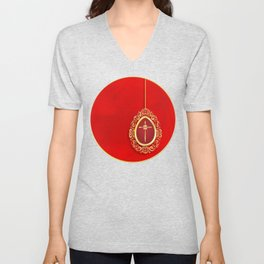 Beautiful red egg with gold cross on rich vibrant texture Unisex V-Neck