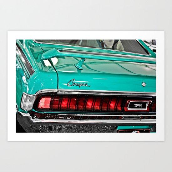1970 Teal Blue Mercury Cougar  Art Print