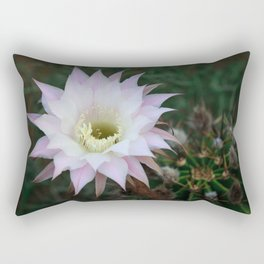 Pale White Pink Cactus Flower Rectangular Pillow