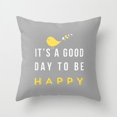 Happy Poster - grey Throw Pillow