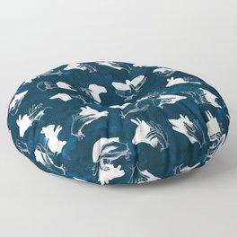 Navy Shadow Puppets Floor Pillow