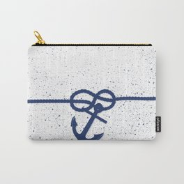 Nautical navy blue white anchor watercolor splatters Carry-All Pouch