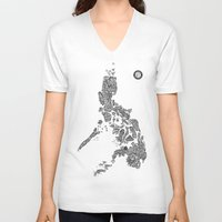 philippines V-neck T-shirts featuring Paranormal Philippines (white) by Rev Cruz