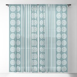 Geometric White on Turquoise Green Vertical Stripes & Circles Sheer Curtain