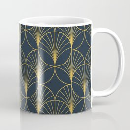 Art Deco Style Seamless Pattern with Golden Fan Shapes Coffee Mug
